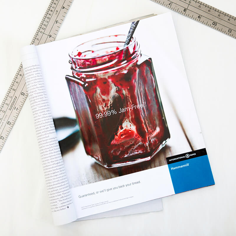 Ad for Hammermill, showing jar of jelly that's almost empty, with the headline 99.99% jam-free